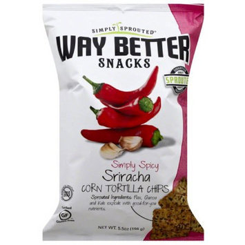 Way Better Snacks Simply Sprouted Simply Spicy Sriracha Corn Tortilla Chips, 5.5 oz, (Pack of 12)