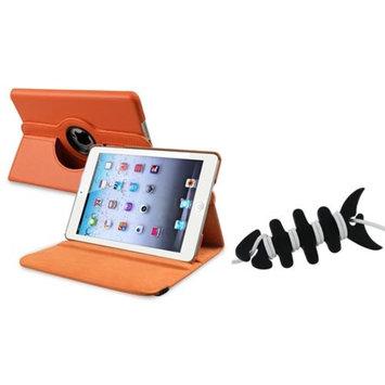 Insten iPad Mini 3/2/1 Case, by INSTEN Protective Orange 360 Swivel Swivel Leather Case for iPad Mini 1/2/3+Fishbone Wrap