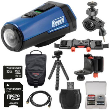Coleman Aktivsport CX9WP GPS HD Video Action Camera Camcorder (Blue) with 32GB Card + Case + Flex Tripod + Kit