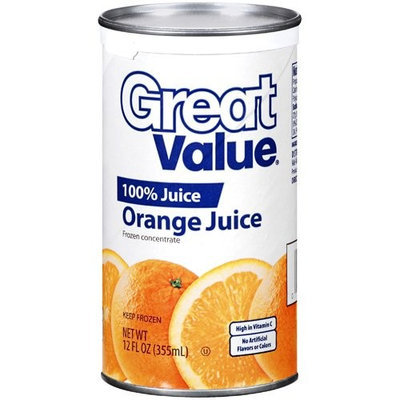 Great Value 100% Orange Juice, 12 oz