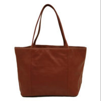 Piel Leather 12 in. Womens Tote w Magnetic Snap Closure in Red
