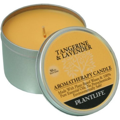 Plantlife Tangerine & Lavender Aromatherapy Candle- made with 100% pure essential oils - 6oz tin