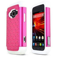 Cgetc Hot Pink w/ Bling on White Protective Hybrid Case for ZTE Concord 2
