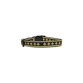 Ahi Black and Gold Fleur de Lis Nylon Dog Collars Large