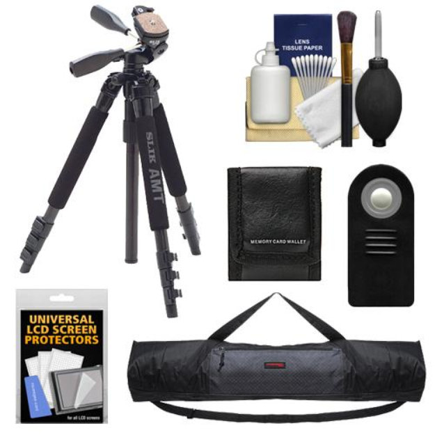 Slik 340 DX Pro Series Black Tripod 3Way Pan/Tilt Head & Quick Release with Tripod Case + RC-6 Remote + Accessory Kit for Canon Rebel T2i, T3i, T4i, EOS 60D, 6D, & 7D Digital SLR Cameras