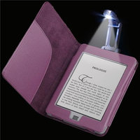 Insten INSTEN Purple Leather Pouch Case Cover+Portable Reading Light For Amazon Kindle Touch