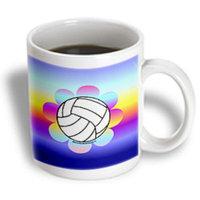 Recaro North 3dRose - Deniska Designs Volleyball - Volleyball Flower on Rainbow - 15 oz mug