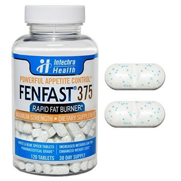Fenfast 375 - Adipex & Phentemine 37.5 Replacement - Powerful Appetite Suppression & Increased Energy - White Blue Speck Tablets