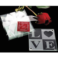 Kate Aspen Love Glass Coaster Gift Set (Set of 12)