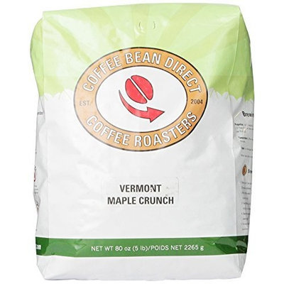 Coffee Bean Direct Vermont Maple Crunch Flavored, Whole Bean Coffee, 5-Pound Bag