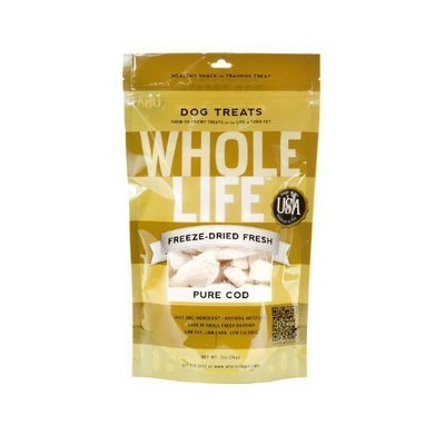 Whole Life Pet Products Whole Life Pet Single Ingredient USA Freeze Dried Cod Filet Treats for Dogs, 2-Ounce