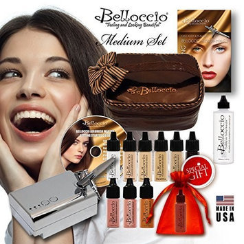 Belloccio's® MEDIUM Complexion Professional Airbrush Cosmetic Makeup System. Belloccio® Is the Superior Brand of Airbrush Makeup. It's Made in the USA From All FDA Approved Ingredients and Is Paraben & Oil Free. 1 Year Warrantee on All Equipment & FREE Bonus Items. Love Our Makeup or Return It for a Full Refund.