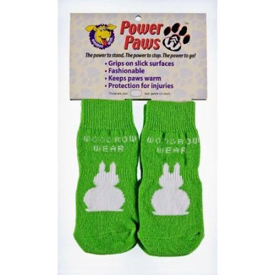 Woodrow Wear Power Paws 08-04 Medium Traction Dog Socks in Green with White Bunny
