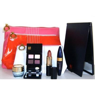 Estée Lauder 8 Pieces Travel Makeup Set : Skin-tone Perfecting Moisturizer +Eye Shadow Quad +Magnascopic Mascara +Long Lasting Lipstick +Mirror + 3 Cosmetic Bags