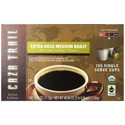 Caza Trail Coffee, Organic Extra Bold Medium Roast, 100 Single Serve Cups [Organic Medium Roast, 100 Count]