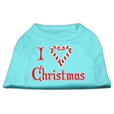 Mirage Pet Products 512508 XXXLAQ I Heart Christmas Screen Print Shirt Aqua XXXL 20