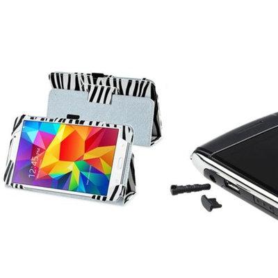 Insten INSTEN White/Black Zebra Leather Stand Case+Dust Cap For Samsung Galaxy Tab 4 7.0 T230
