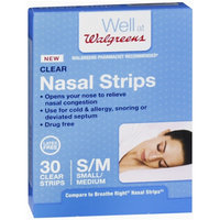 Walgreens Nasal Strips, Clear, Small/Medium, 30 ea