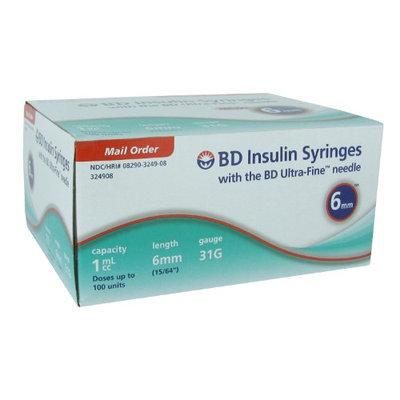 BD Ultra-Fine Insulin Syringes 31G 1cc 6mm 90/bx