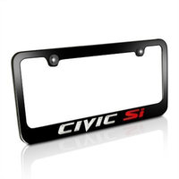 Hspeed Honda Civic Si Black Metal License Plate Frame Vinyl Print Decals with matching color screw caps