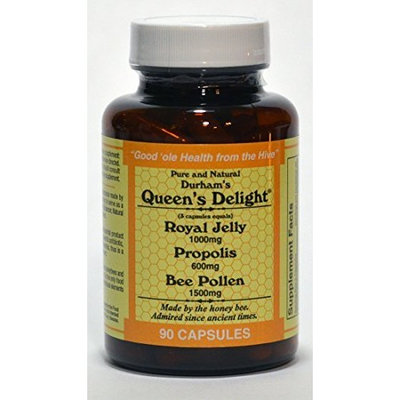 Durham's Bee Farm, Inc. Durham's Queen's Delight (Royal Jelly 1000mg, Propolis 600mg, Beepollen 1500mg) in 3 Daily Capsules