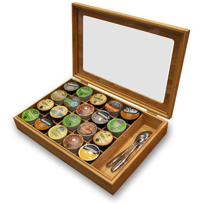 Vandue Corporation Bamboo Keurig K-Cup Organizer/Display Box with Accessory Section