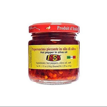 Iasa Peperoncino Piccante Hot Red Peppers in Olive Oil 100 Gr Jar