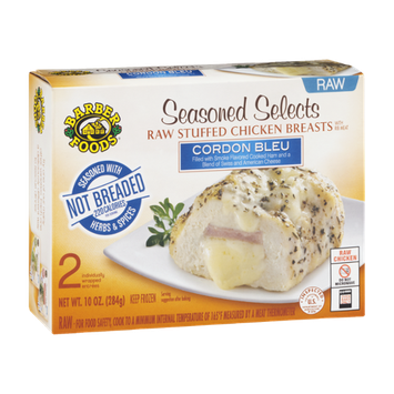 Barber Foods Seasoned Selects Raw Stuffed Chicken Breasts Cordon Bleu - 2 CT