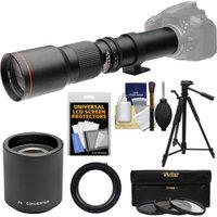 Vivitar 500mm f/8.0 Telephoto Lens with 2x Teleconverter (=1000mm) + Tripod + 3 Filters Kit for SLT-A57, A58, A65, A77, A99 DSLR Cameras