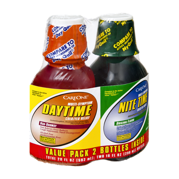 CareOne Daytime Multi-Symptom Non-Drowsy and Nite Time Multi-Symptom Original Flavor Cold/Flu Relief Value Pack - 2 CT