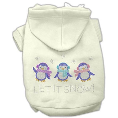 Mirage Pet Products 54-25-18 SMCR Let it Snow Penguins Rhinestone Hoodie Cream S - 10