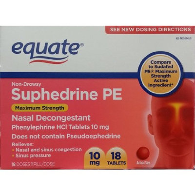 Equate Suphedrine PE Nasal Decongestant 10mg 18ct Maximum Strength Compare to Sudafed PE Maximum Strength