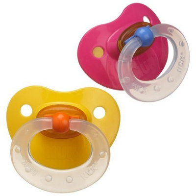 NUK 2 Pack Fashion Latex BPA Free Pacifier, Size 2, Colors May Vary