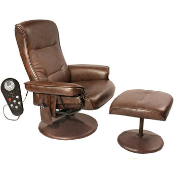 Relaxzen Comfort Soft Reclining Massage Chair and Ottoman