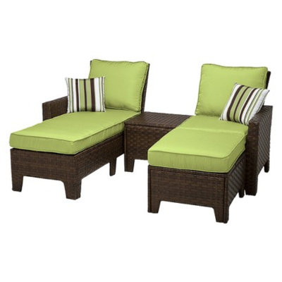 Grand Basket Belmont 4 Piece Brown Wicker Patio Chaise Lounge Set