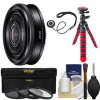 Sony Alpha E-Mount 20mm f/2.8 Wide-Angle Pancake Lens with 3 Filters + Flex Tripod + Kit for A7, A7R, A7S, A3000, A5000, A5100, A6000 Cameras