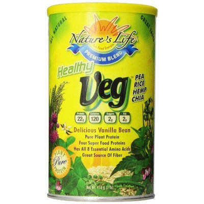 Nature's Life, Healthy Veg Protein, Delicious Vanilla Bean, Powder, 1 Pound