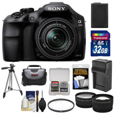 Sony Alpha A3000 Digital Camera & 18-55mm Lens with 32GB Card + Battery + Charger + Case + Filter + Tripod + Tele/Wide Lenses Kit