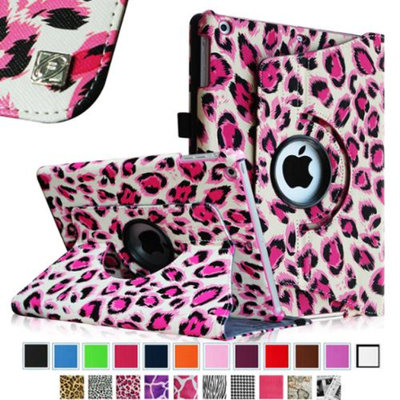 Fintie iPad Air 2 Case - 360 Degree Rotating Stand Case with Smart Cover Auto Sleep / Wake Feature, Leopard Pink