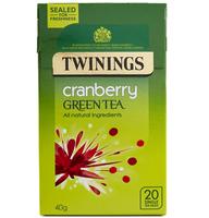 TWININGS GREEN TEA & CRANBERRY TEA BAGS