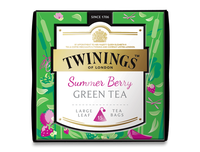 TWININGS™ OF LONDON DISCOVERY COLLECTION Summer Berry GREEN TEA LARGE LEAF PYRAMID TEA BAGS