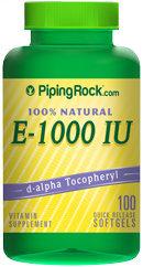 Piping Rock Natural Vitamin E-1000 IU 100 Softgels