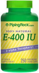 Piping Rock Natural Vitamin E-400 IU 250 Soft Gels
