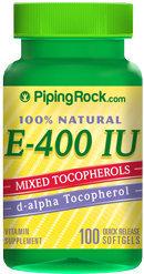 Piping Rock Natural Vitamin E-400 IU 100 Softgels