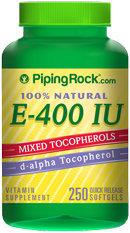 Piping Rock Natural Vitamin E-400 IU 250 Softgels