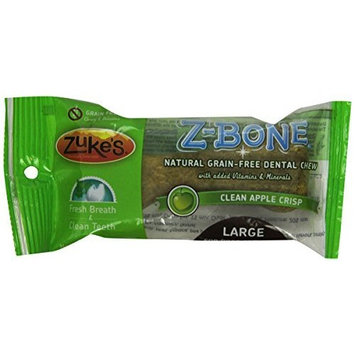 Zuke's Z-Bones Edible Grain-Free Dental Chews, Clean Apple Crisp, Large 2.5-Ounce, Individually Wrapped Bone