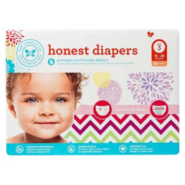 The Honest Company Honest Diapers Value Pack, Bloom & Chevron - Size 3 (68 Count)