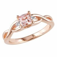 Amour Silver Square Cut Diamond & Morganite Ring, Pink, White, 5, 1 ea
