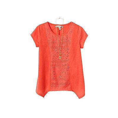 Speechless® Girls' 7-16 Short Sleeve Slub Tee With Lace