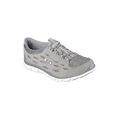 Skechers Women's Gratis Hit It Big Memory Foam Slip On Sneakers (Gray/White/Aqua) - 8.5 M